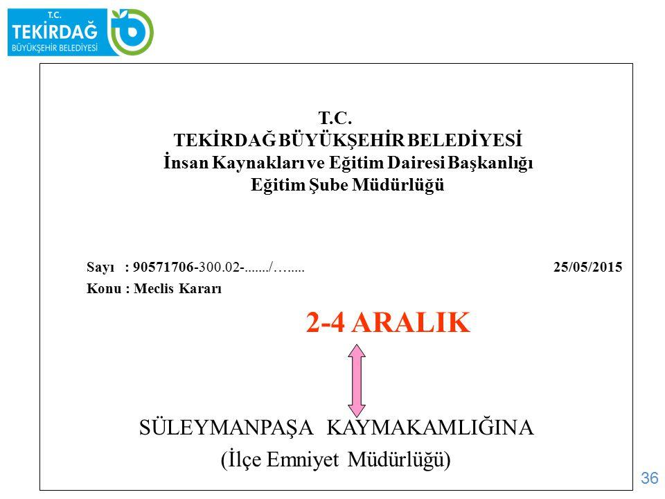 2-4 ARALIK SÜLEYMANPAŞA KAYMAKAMLIĞINA (İlçe Emniyet Müdürlüğü)