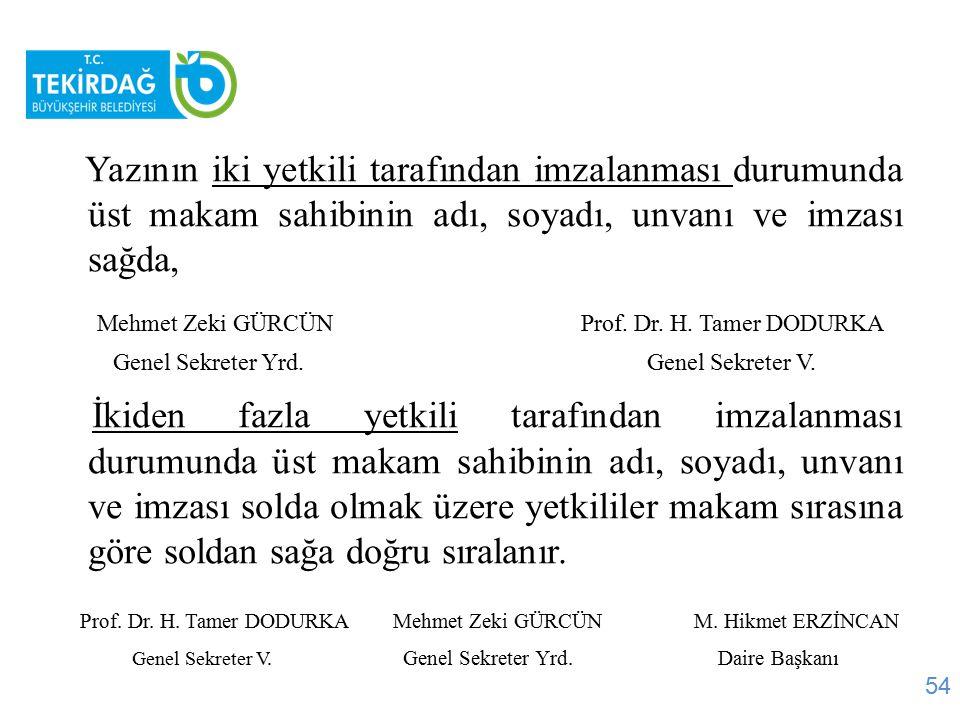 Mehmet Zeki GÜRCÜN Prof. Dr. H. Tamer DODURKA