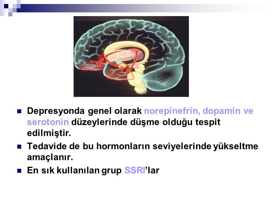 Depresyonda genel olarak norepinefrin, dopamin ve serotonin düzeylerinde düşme olduğu tespit edilmiştir.