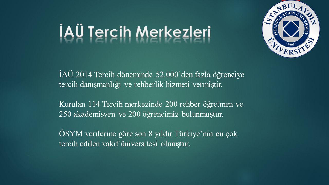İAÜ Tercih Merkezleri İAÜ 2014 Tercih döneminde 52.000'den fazla öğrenciye tercih danışmanlığı ve rehberlik hizmeti vermiştir.