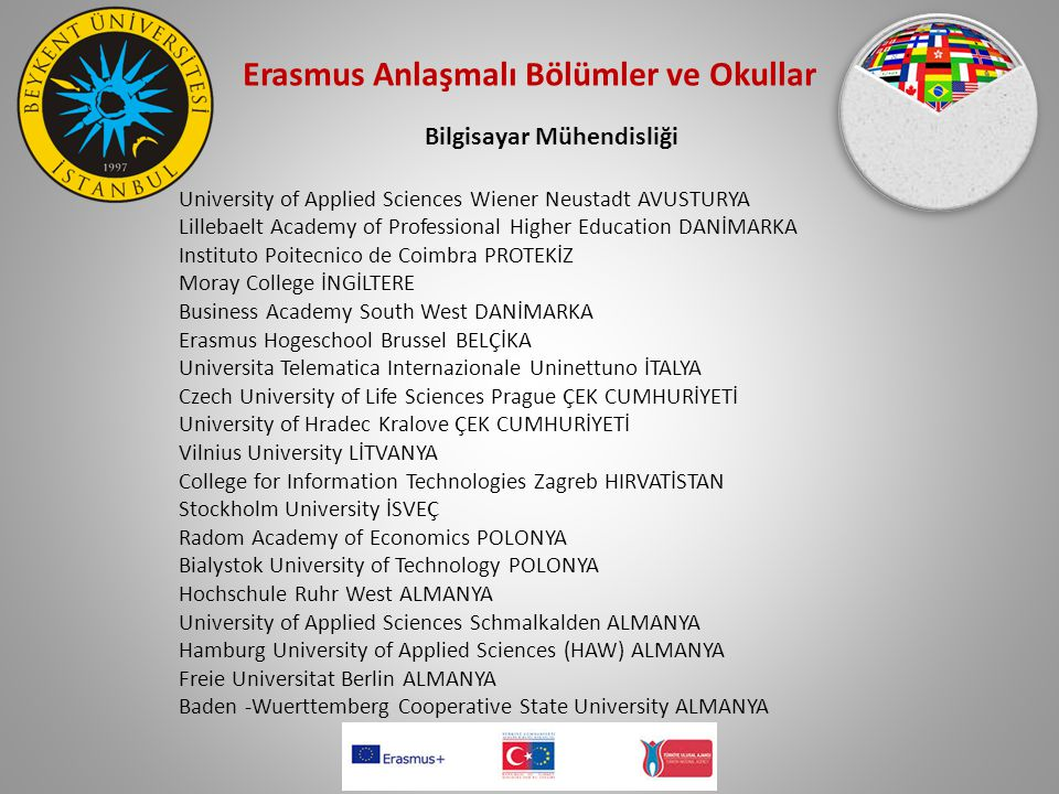 Erasmus Anlaşmalı Bölümler ve Okullar Bilgisayar Mühendisliği