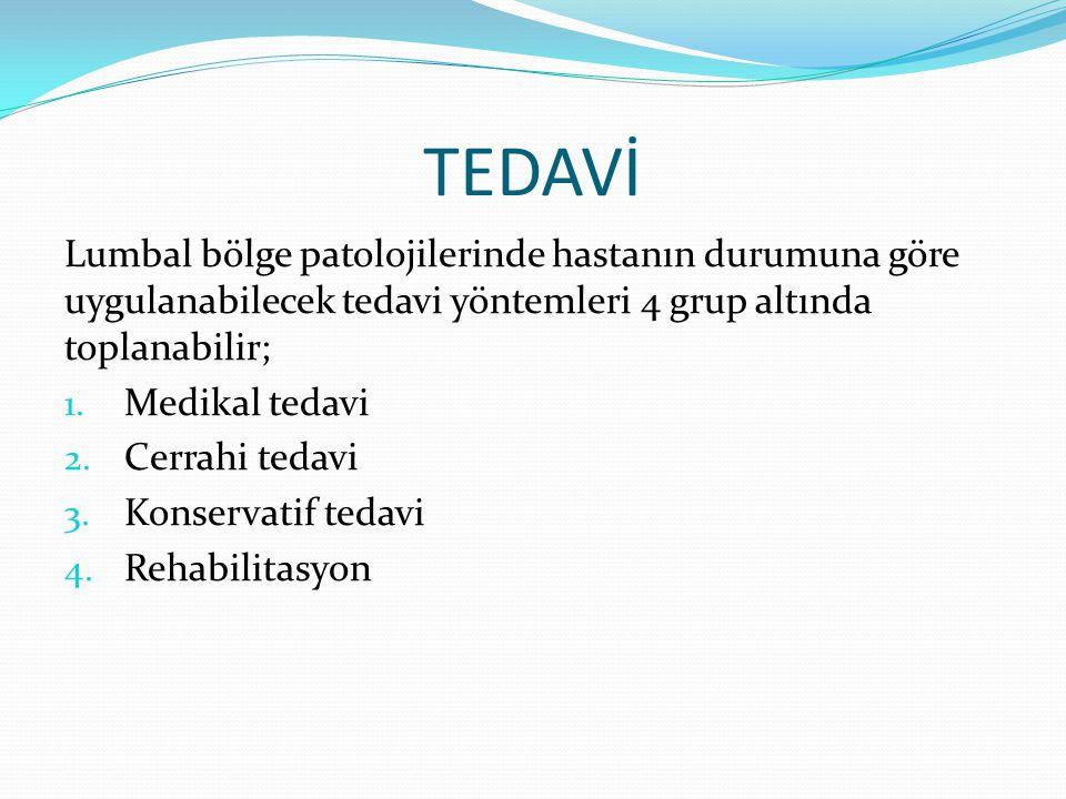TEDAVİ Lumbal bölge patolojilerinde hastanın durumuna göre uygulanabilecek tedavi yöntemleri 4 grup altında toplanabilir;