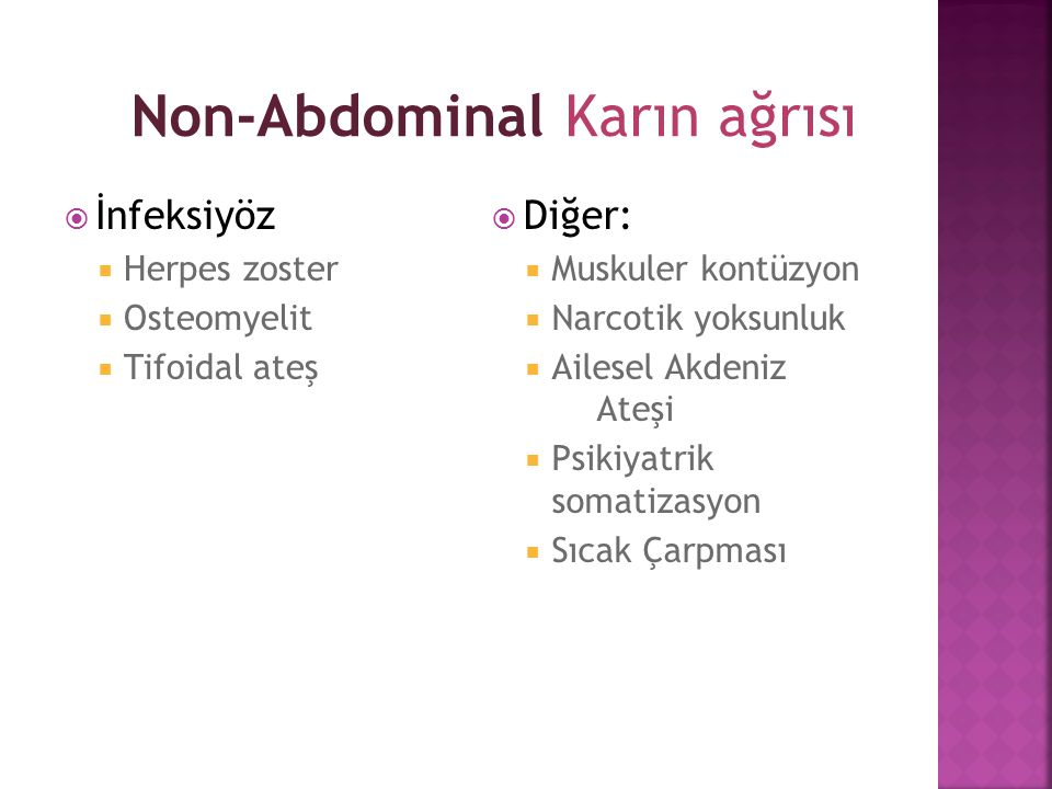Non-Abdominal Karın ağrısı