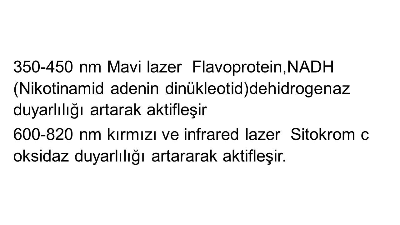 350-450 nm Mavi lazer Flavoprotein,NADH (Nikotinamid adenin dinükleotid)dehidrogenaz duyarlılığı artarak aktifleşir