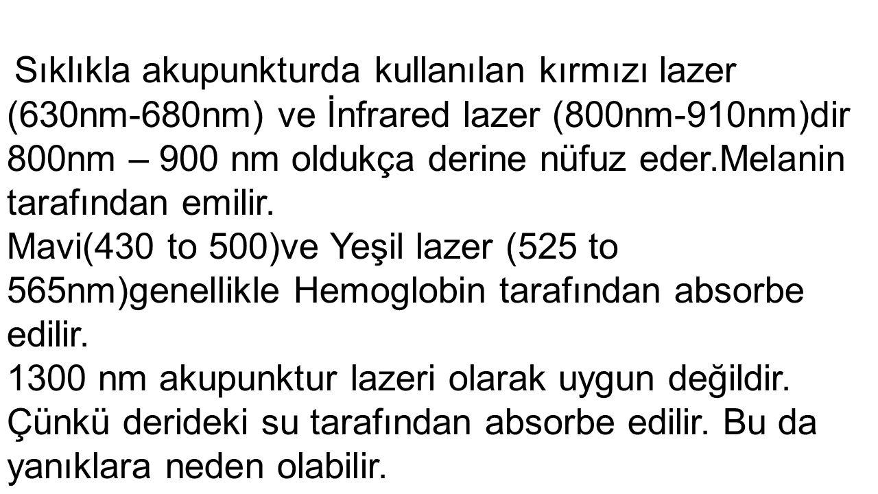 800nm – 900 nm oldukça derine nüfuz eder.Melanin tarafından emilir.