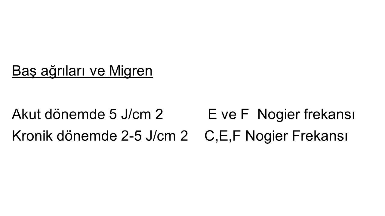 Baş ağrıları ve Migren Akut dönemde 5 J/cm 2 E ve F Nogier frekansı.