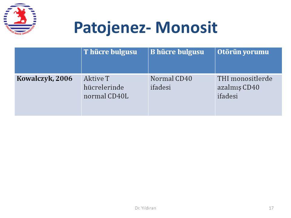Patojenez- Monosit T hücre bulgusu B hücre bulgusu Otörün yorumu