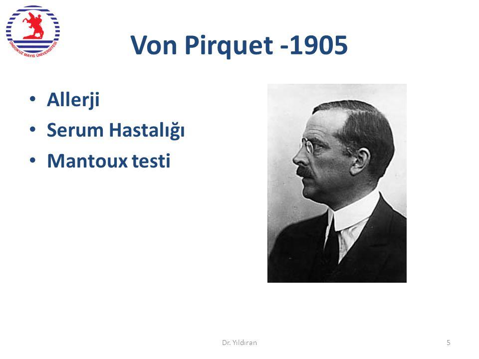 Von Pirquet -1905 Allerji Serum Hastalığı Mantoux testi Dr. Yıldıran