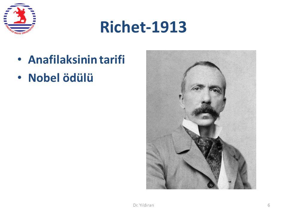 Richet-1913 Anafilaksinin tarifi Nobel ödülü Dr. Yıldıran