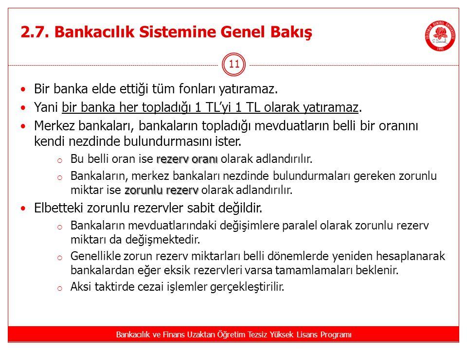 2.7. Bankacılık Sistemine Genel Bakış