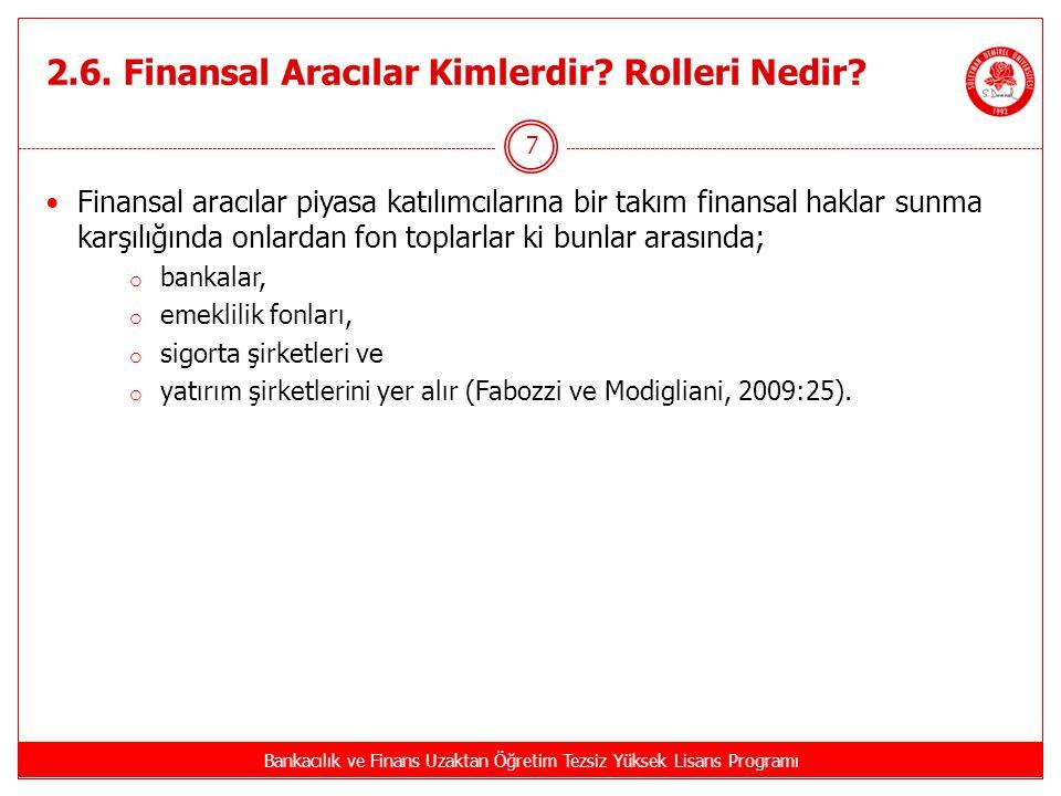 2.6. Finansal Aracılar Kimlerdir Rolleri Nedir