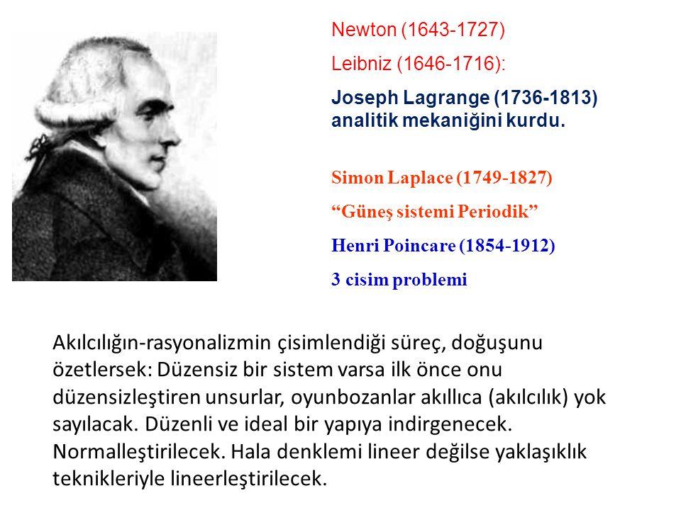 Newton (1643-1727) Leibniz (1646-1716): Joseph Lagrange (1736-1813) analitik mekaniğini kurdu. Descartes (1596-1650)