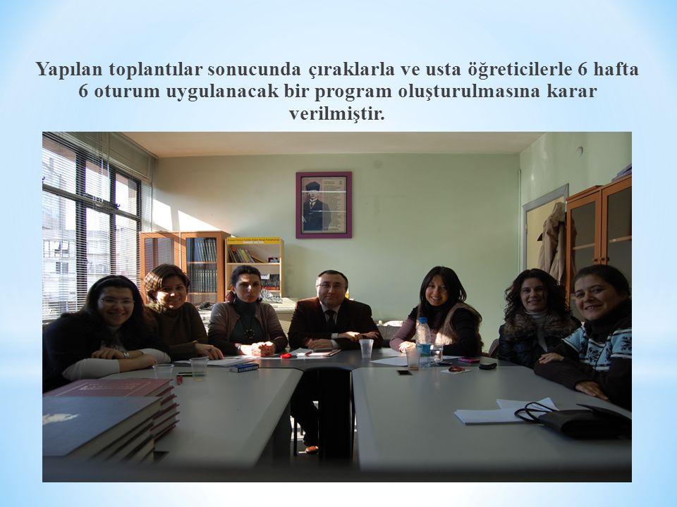Yapılan toplantılar sonucunda çıraklarla ve usta öğreticilerle 6 hafta 6 oturum uygulanacak bir program oluşturulmasına karar verilmiştir.