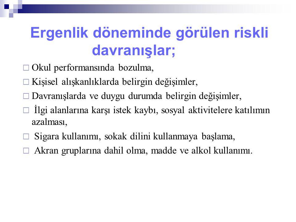 Ergenlik döneminde görülen riskli davranışlar;