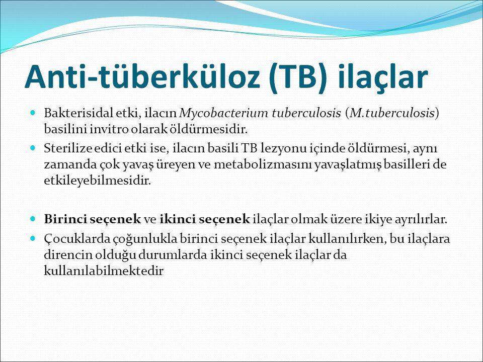 Anti-tüberküloz (TB) ilaçlar