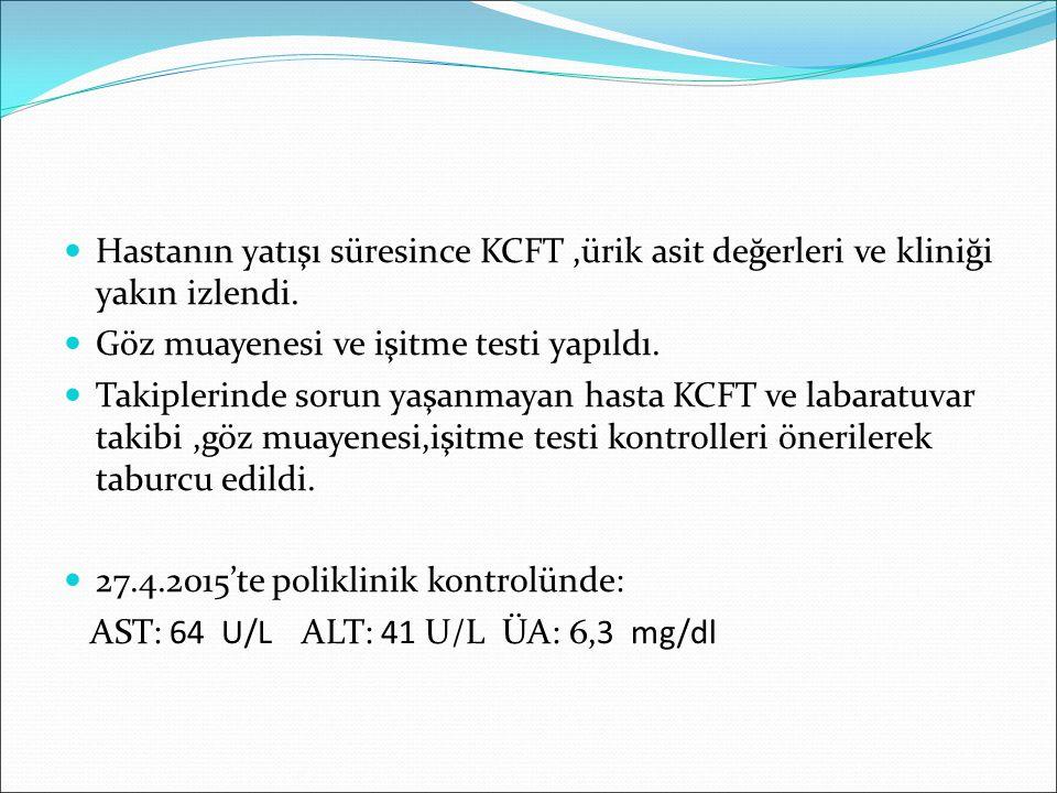 Hastanın yatışı süresince KCFT ,ürik asit değerleri ve kliniği yakın izlendi.