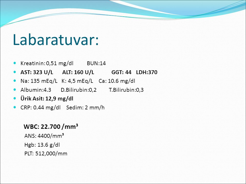 Labaratuvar: WBC: 22.700 /mm³ Kreatinin: 0,51 mg/dl BUN:14