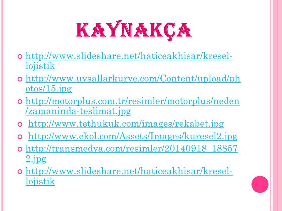 KAYNAKÇA http://www.slideshare.net/haticeakhisar/kresel- lojistik