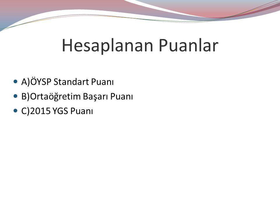 Hesaplanan Puanlar A)ÖYSP Standart Puanı B)Ortaöğretim Başarı Puanı