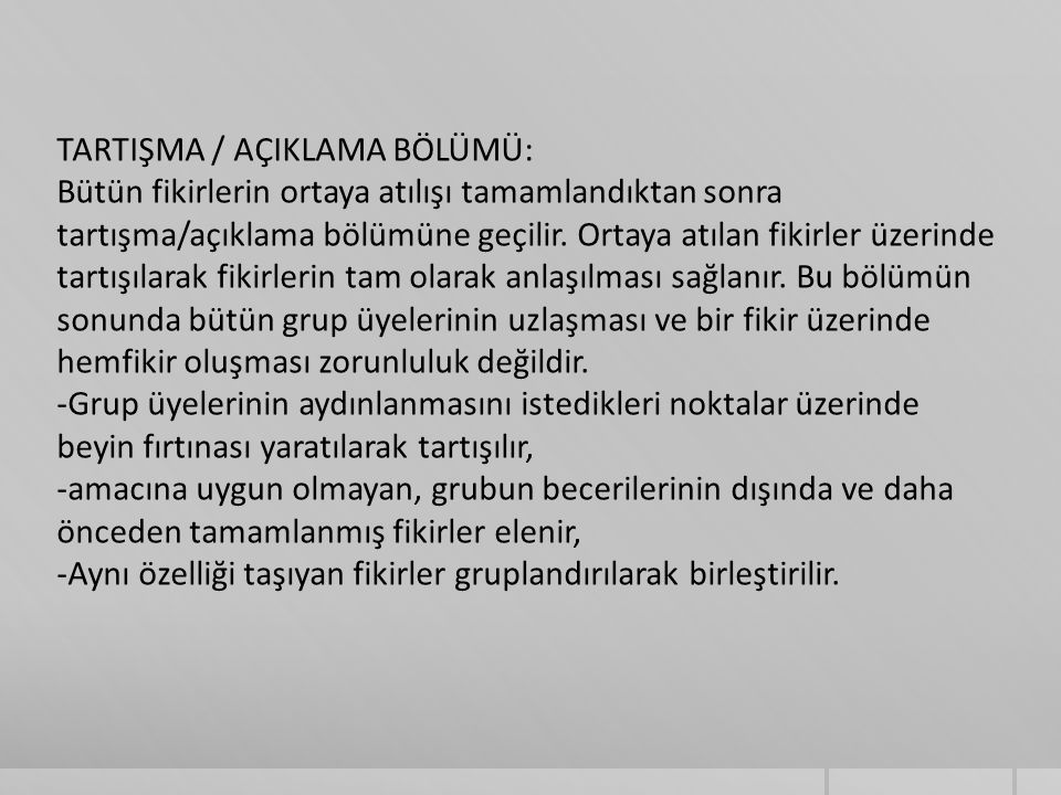 TARTIŞMA / AÇIKLAMA BÖLÜMÜ: