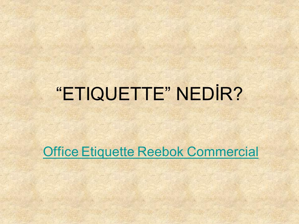 Office Etiquette Reebok Commercial