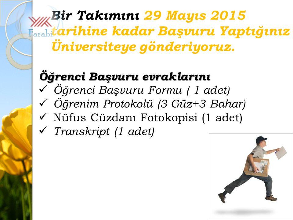 Bir Takımını 29 Mayıs 2015 tarihine kadar Başvuru Yaptığınız Üniversiteye gönderiyoruz.