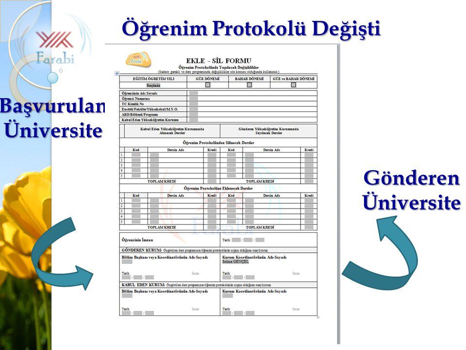 Öğrenim Protokolü Değişti Başvurulan Üniversite
