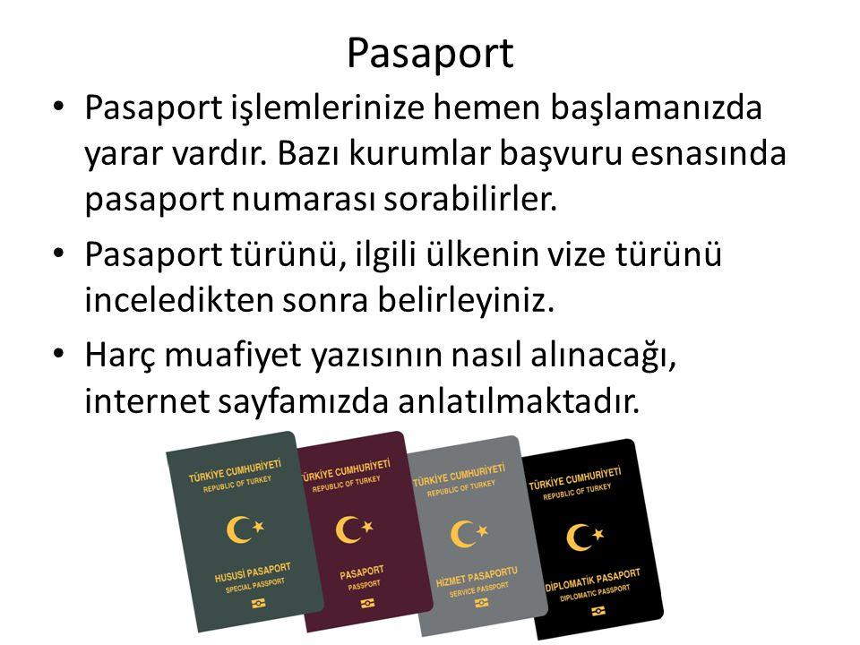 Pasaport Pasaport işlemlerinize hemen başlamanızda yarar vardır. Bazı kurumlar başvuru esnasında pasaport numarası sorabilirler.