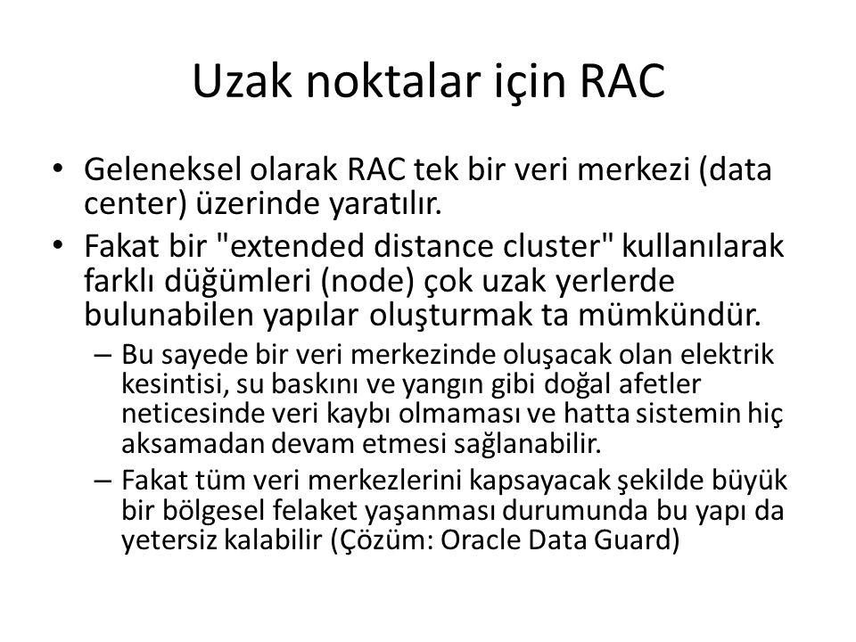 Uzak noktalar için RAC Geleneksel olarak RAC tek bir veri merkezi (data center) üzerinde yaratılır.