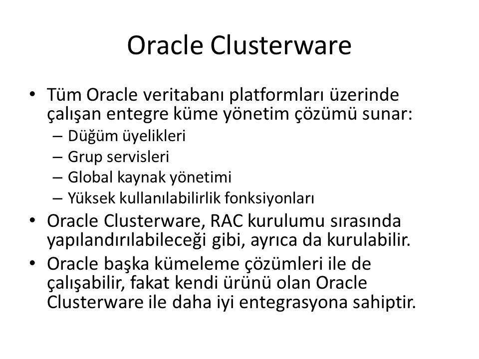 Oracle Clusterware Tüm Oracle veritabanı platformları üzerinde çalışan entegre küme yönetim çözümü sunar: