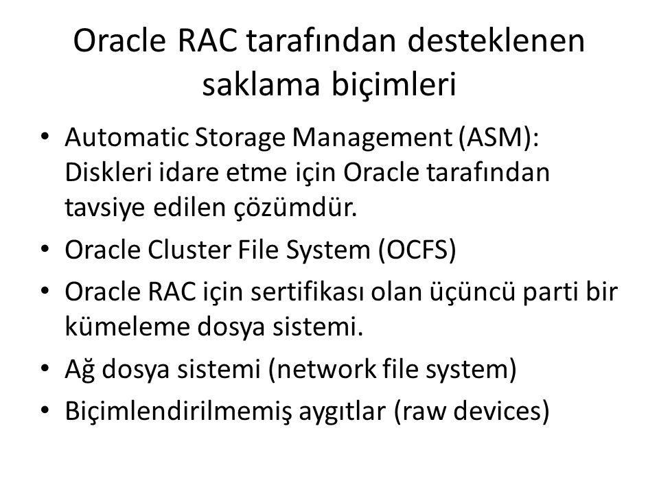 Oracle RAC tarafından desteklenen saklama biçimleri