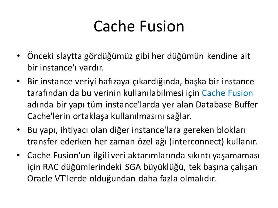 Cache Fusion Önceki slaytta gördüğümüz gibi her düğümün kendine ait bir instance ı vardır.