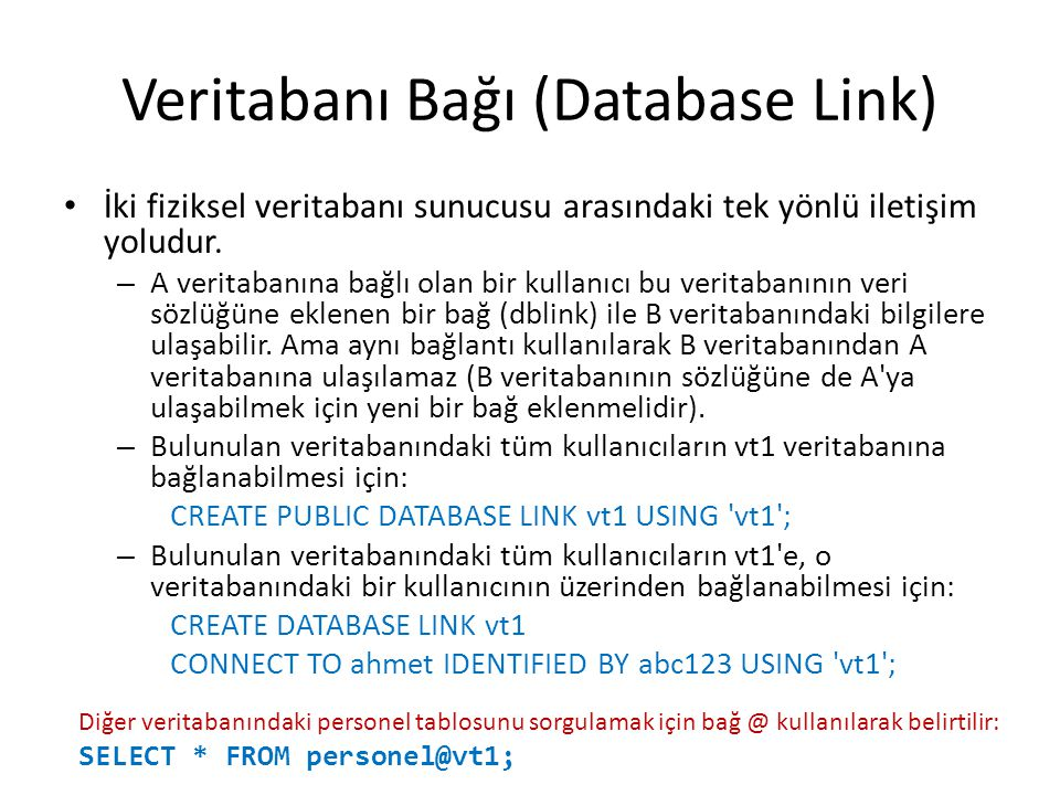 Veritabanı Bağı (Database Link)