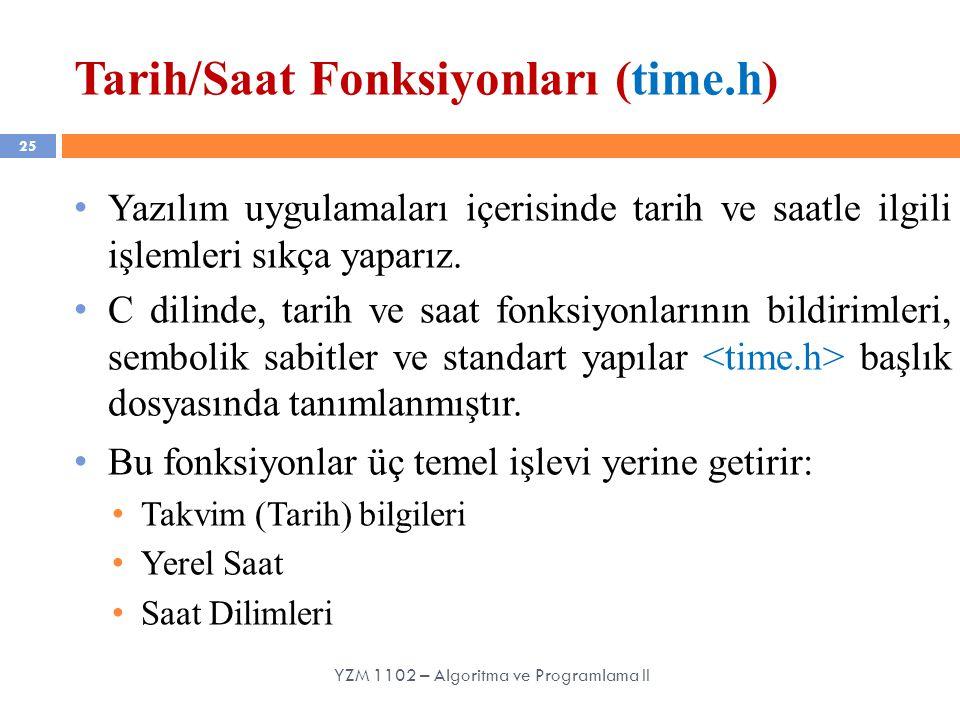 Tarih/Saat Fonksiyonları (time.h)