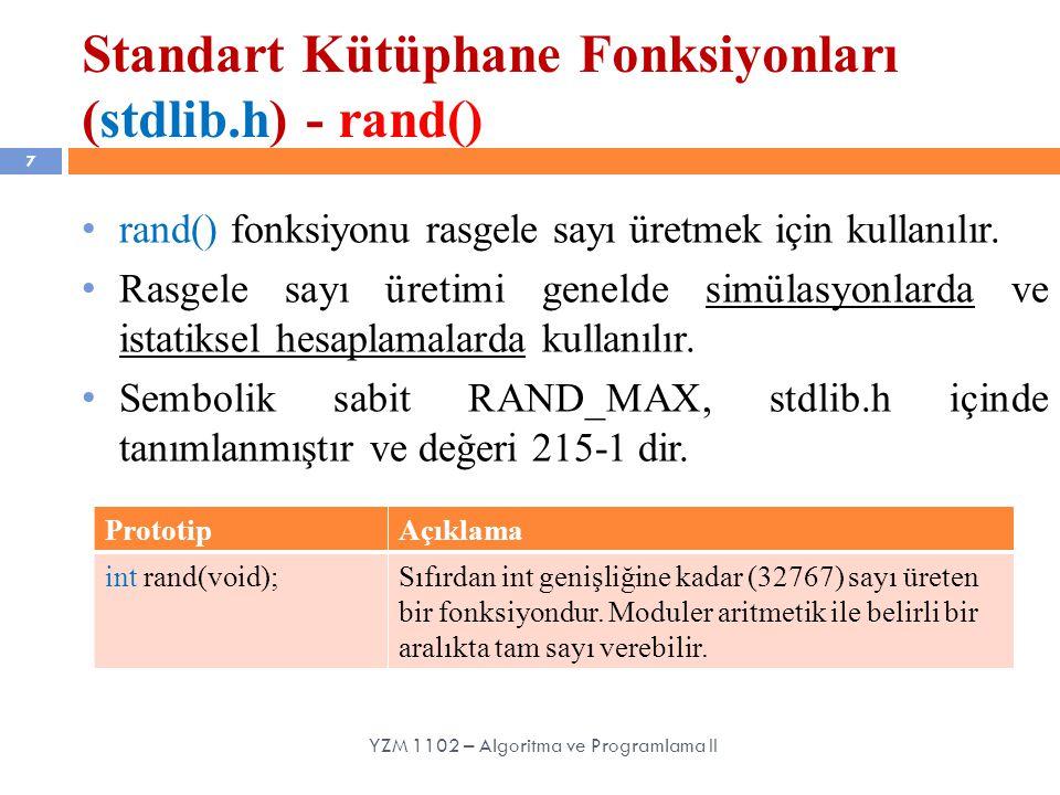 Standart Kütüphane Fonksiyonları (stdlib.h) - rand()