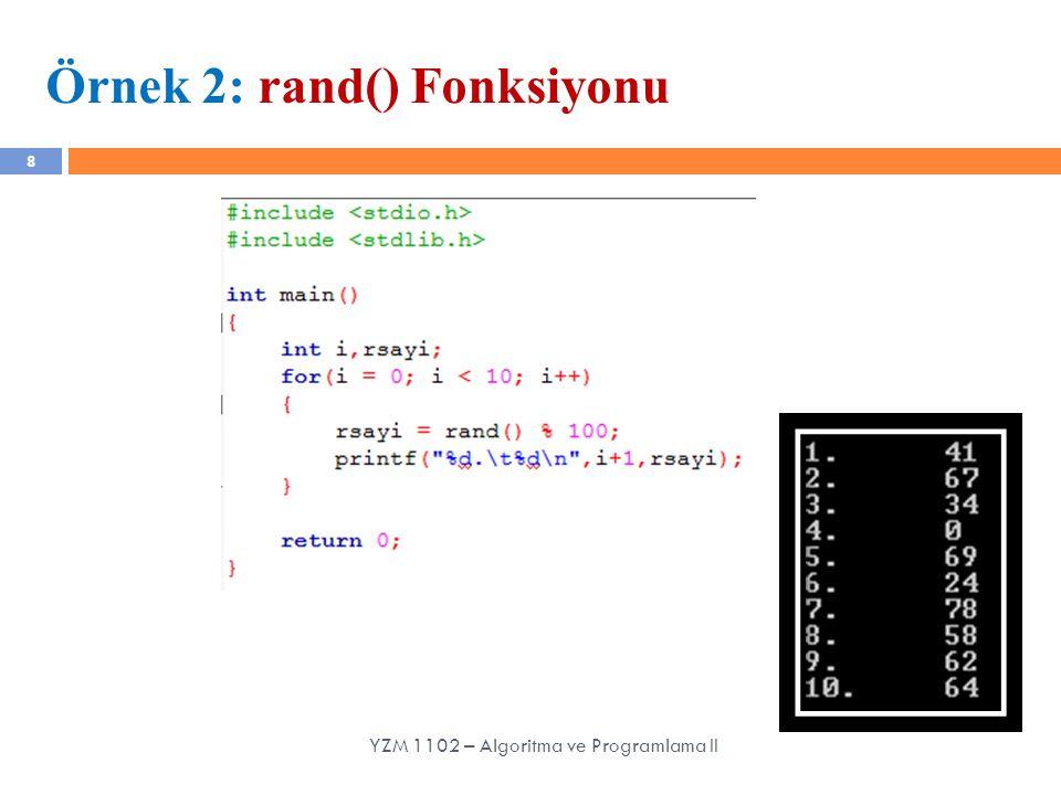 Örnek 2: rand() Fonksiyonu