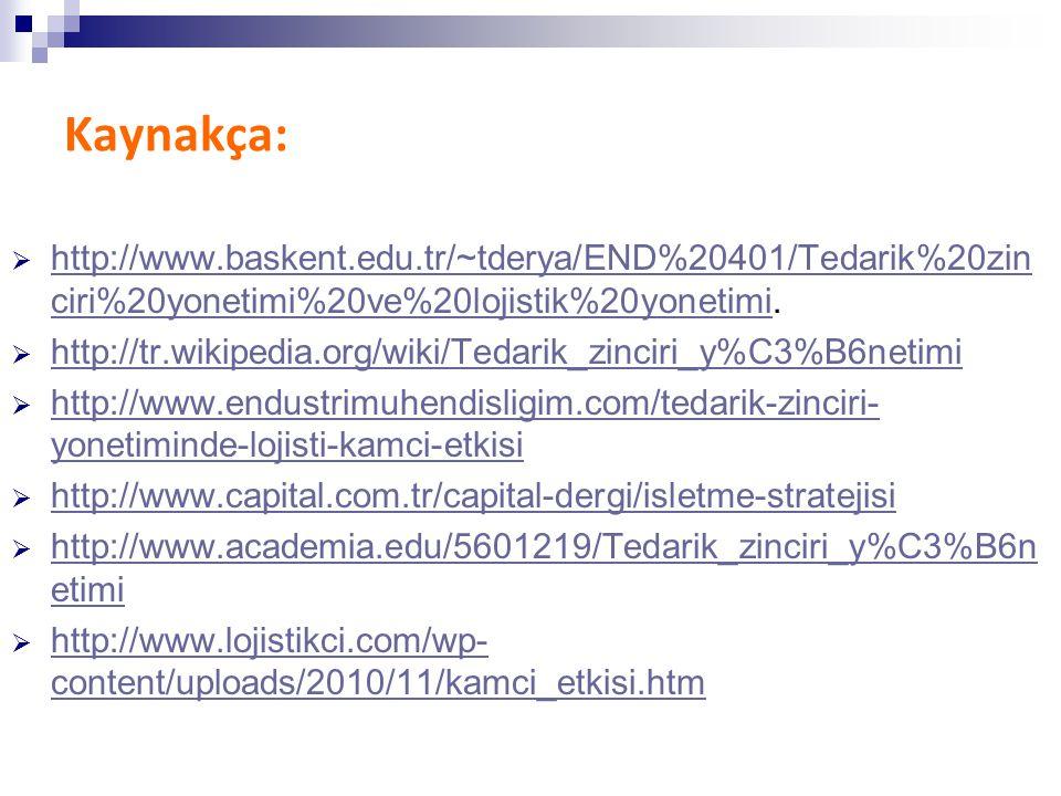 Kaynakça: http://www.baskent.edu.tr/~tderya/END%20401/Tedarik%20zinciri%20yonetimi%20ve%20lojistik%20yonetimi.