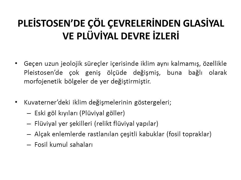 PLEİSTOSEN'DE ÇÖL ÇEVRELERİNDEN GLASİYAL VE PLÜVİYAL DEVRE İZLERİ