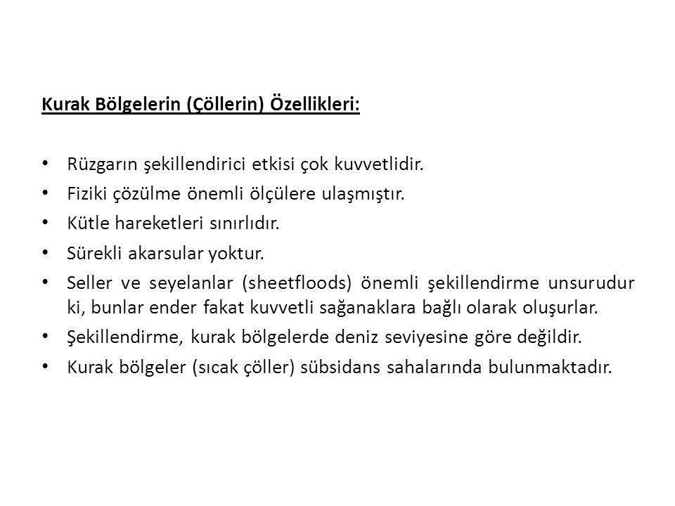 Kurak Bölgelerin (Çöllerin) Özellikleri: