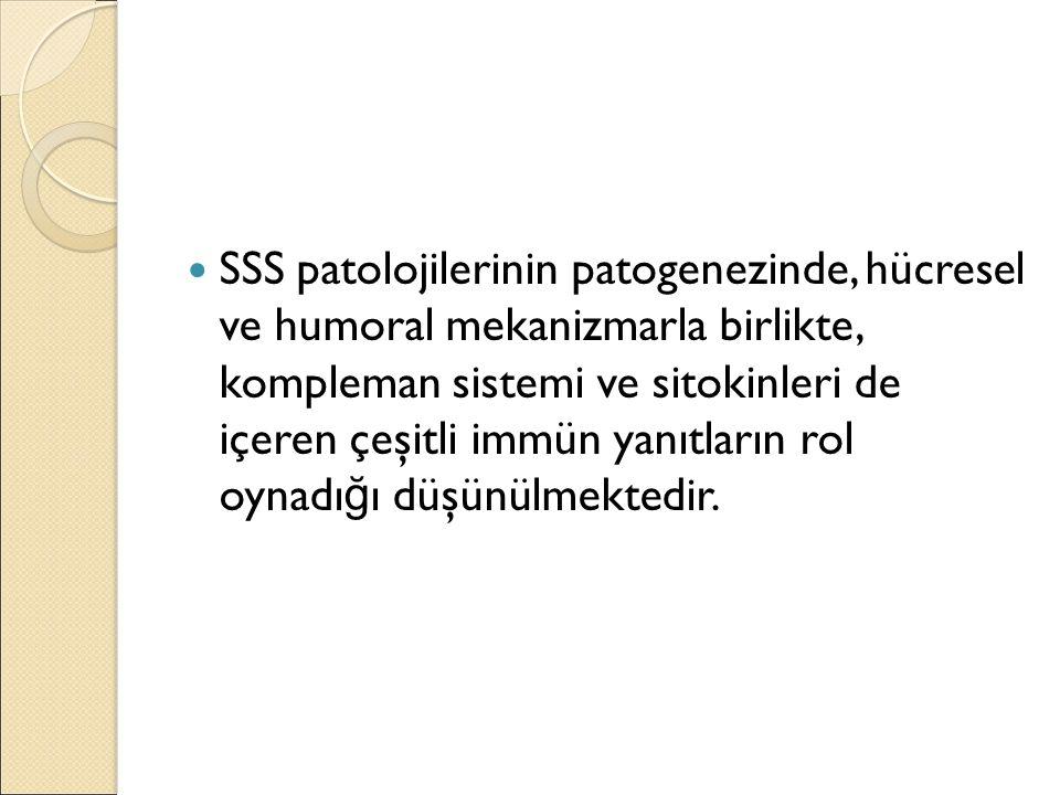 SSS patolojilerinin patogenezinde, hücresel ve humoral mekanizmarla birlikte, kompleman sistemi ve sitokinleri de içeren çeşitli immün yanıtların rol oynadığı düşünülmektedir.