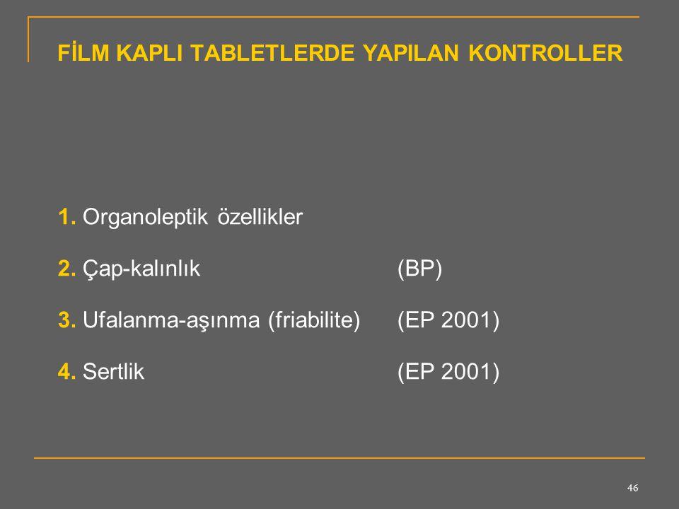 FİLM KAPLI TABLETLERDE YAPILAN KONTROLLER