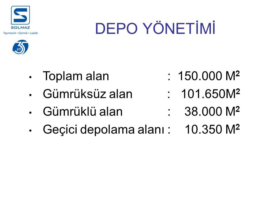 DEPO YÖNETİMİ Toplam alan : 150.000 M2 Gümrüksüz alan : 101.650M2