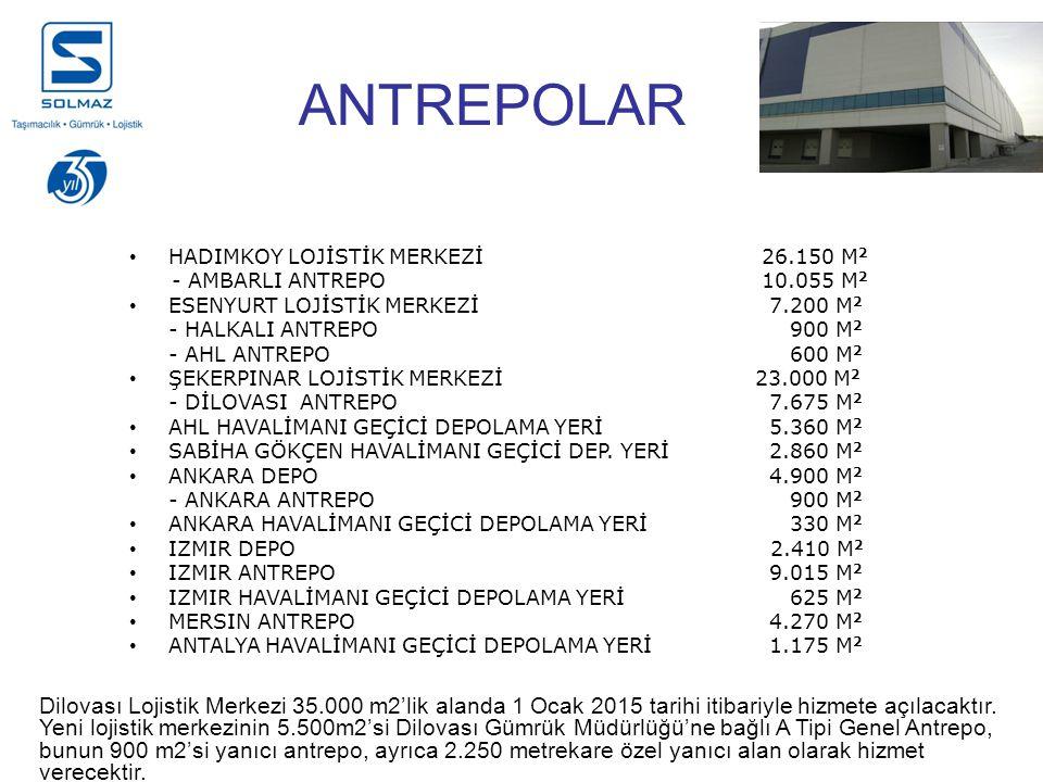 ANTREPOLAR HADIMKOY LOJİSTİK MERKEZİ 26.150 M2. - AMBARLI ANTREPO 10.055 M2. ESENYURT LOJİSTİK MERKEZİ 7.200 M2.