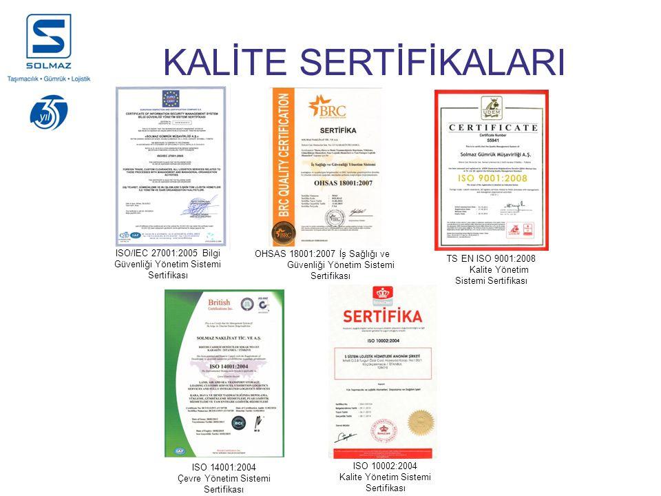 KALİTE SERTİFİKALARI ISO/IEC 27001:2005 Bilgi Güvenliği Yönetim Sistemi Sertifikası. OHSAS 18001:2007 İş Sağlığı ve.