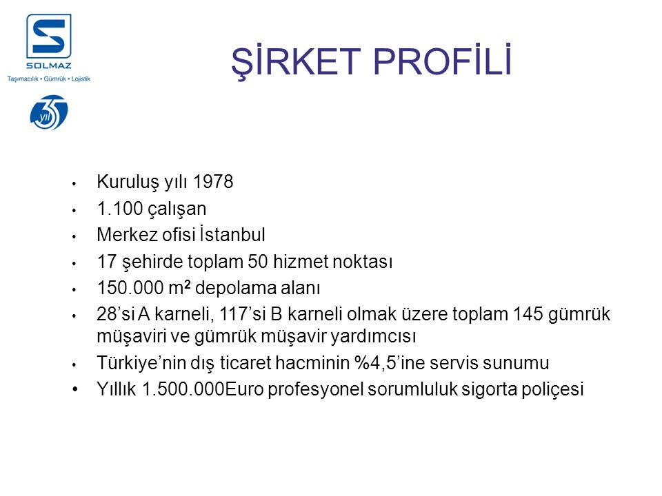 ŞİRKET PROFİLİ Kuruluş yılı 1978 1.100 çalışan Merkez ofisi İstanbul