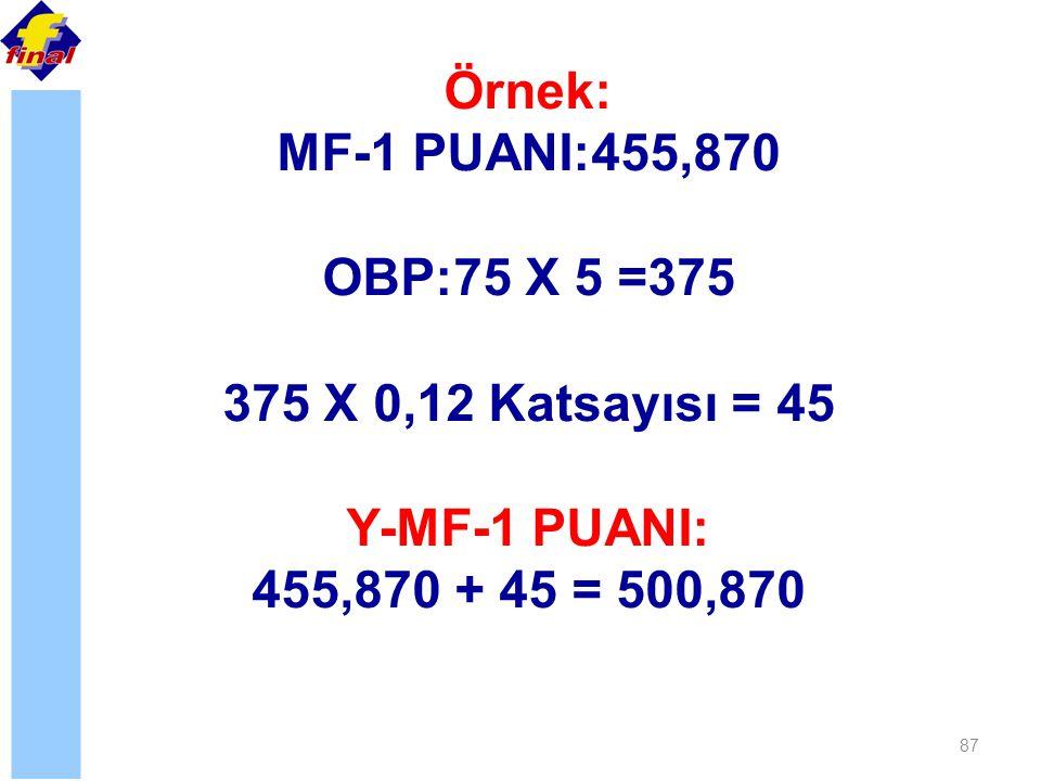 Örnek: MF-1 PUANI:455,870. OBP:75 X 5 =375. 375 X 0,12 Katsayısı = 45.
