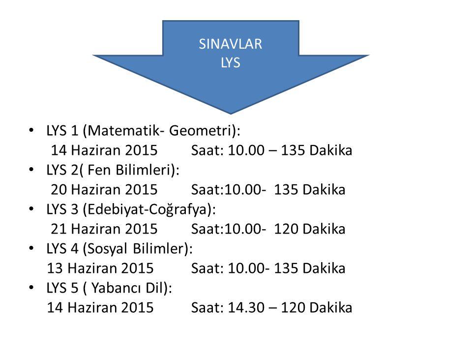 LYS 1 (Matematik- Geometri): 14 Haziran 2015 Saat: 10.00 – 135 Dakika