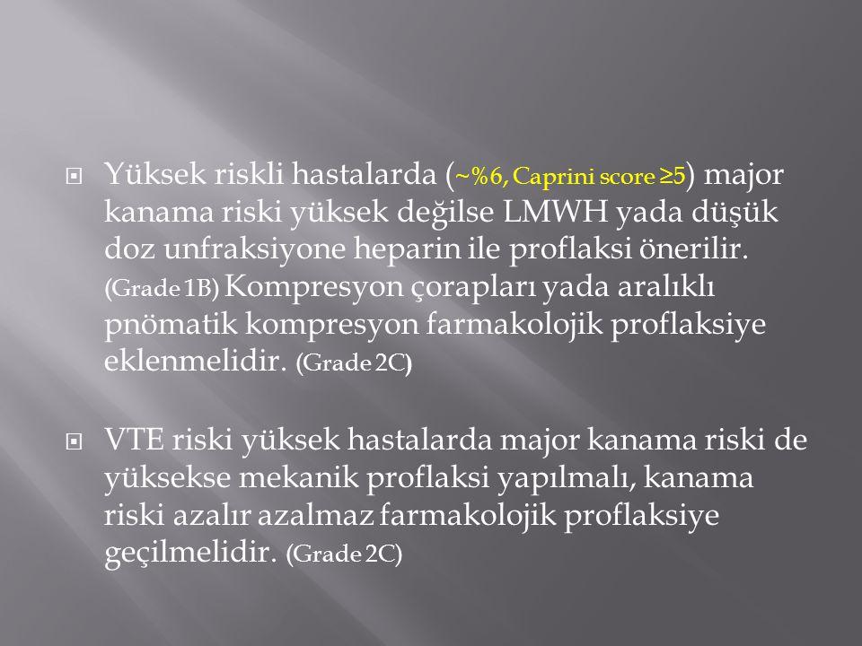 Yüksek riskli hastalarda (~%6, Caprini score ≥5) major kanama riski yüksek değilse LMWH yada düşük doz unfraksiyone heparin ile proflaksi önerilir. (Grade 1B) Kompresyon çorapları yada aralıklı pnömatik kompresyon farmakolojik proflaksiye eklenmelidir. (Grade 2C)