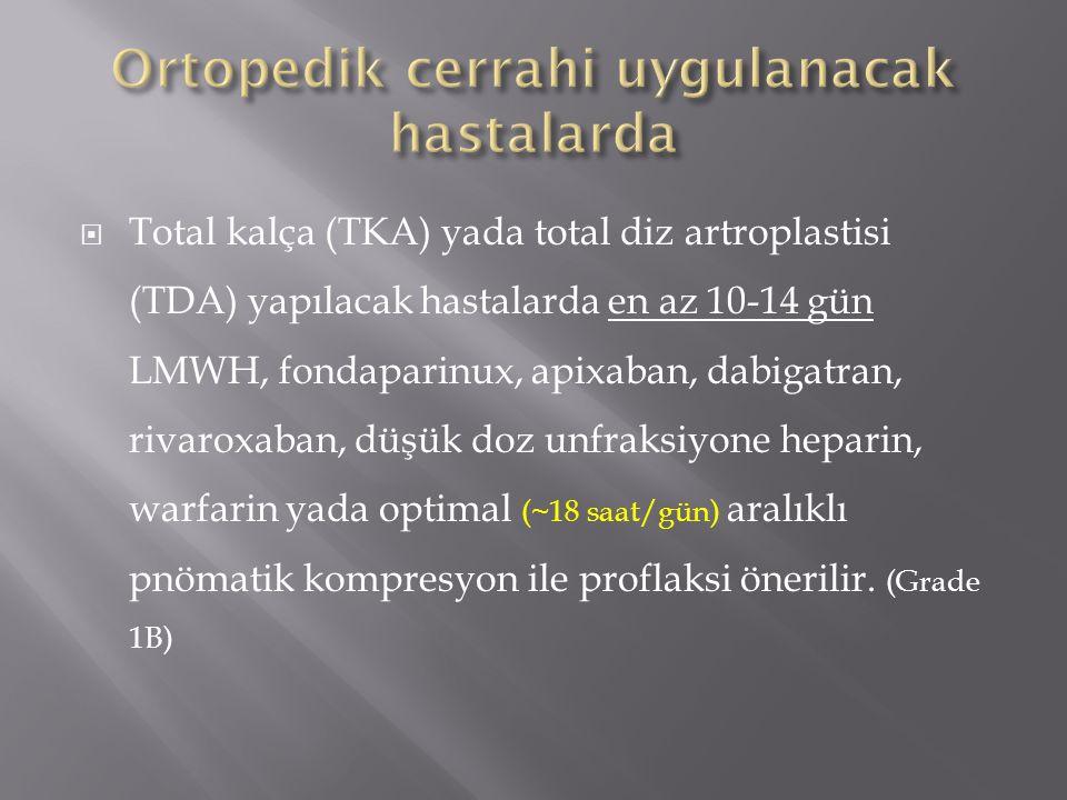 Ortopedik cerrahi uygulanacak hastalarda