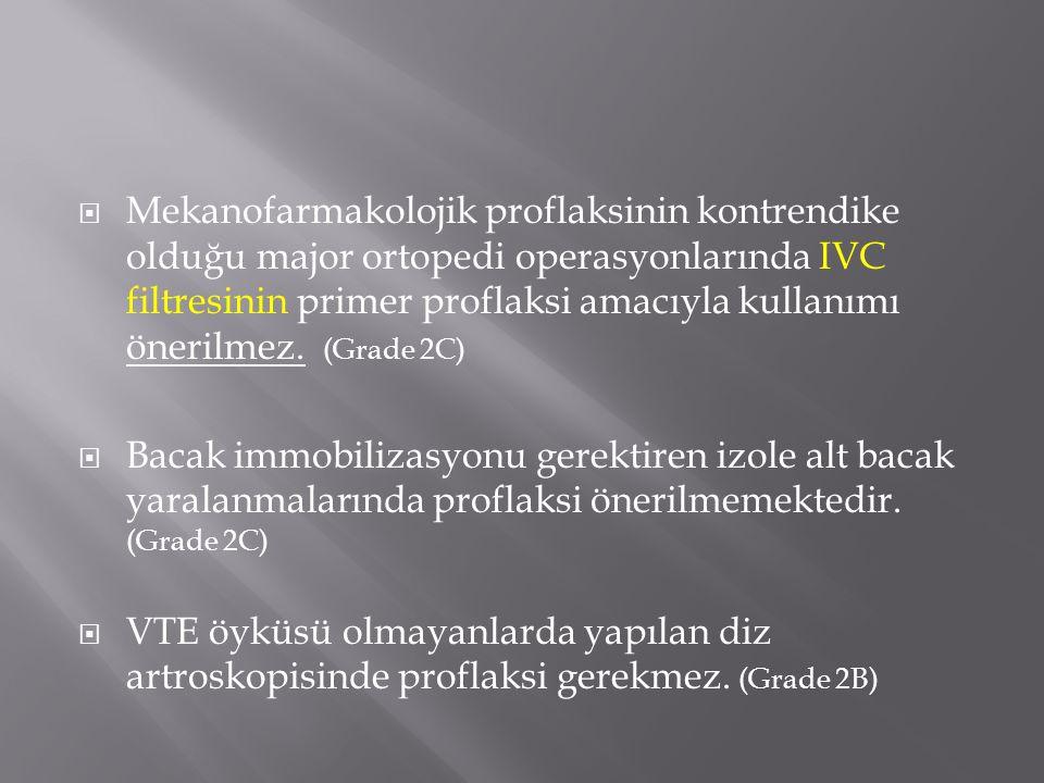 Mekanofarmakolojik proflaksinin kontrendike olduğu major ortopedi operasyonlarında IVC filtresinin primer proflaksi amacıyla kullanımı önerilmez. (Grade 2C)